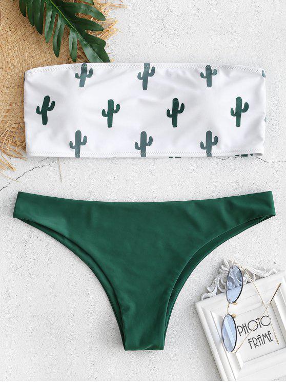 Übergröße Kaktus Bandeau Bikini Set - Dunkelgrün L