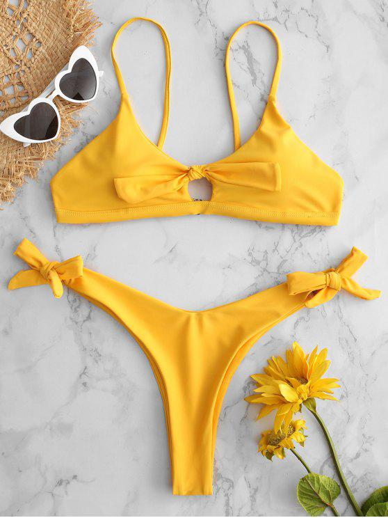 best Tied Keyhole High Cut Bikini Set - BRIGHT YELLOW L