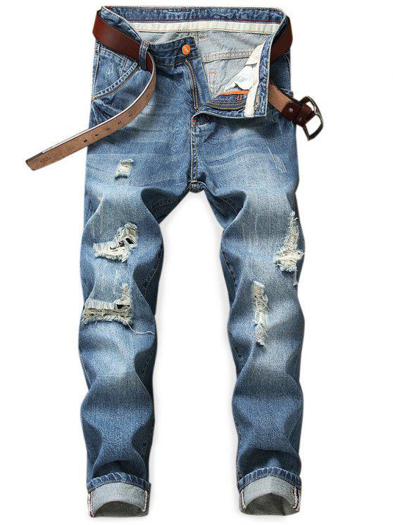 Destroyed Holes Zip Fly Jeans - Azul Oscuro de Denim 32