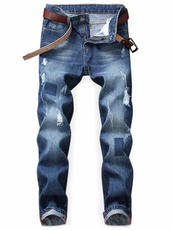 Jeans Strappati Con Stampa Geometrica - Blu Scura Denim  38