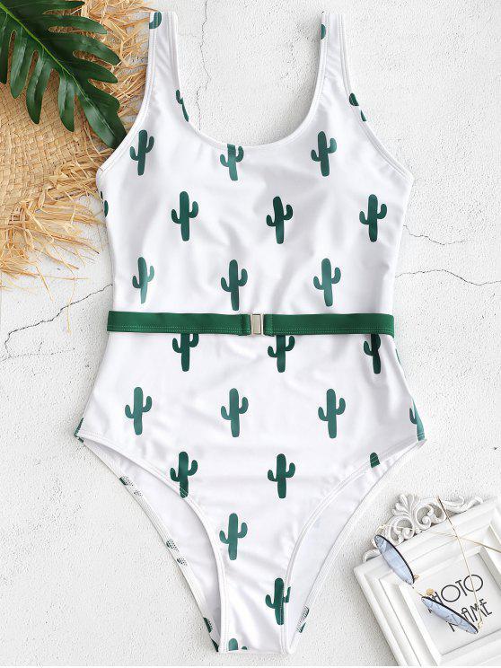 Costume Da Bagno A Taglio Alto Con Stampa Cactus Senza Schienale - Bianco S
