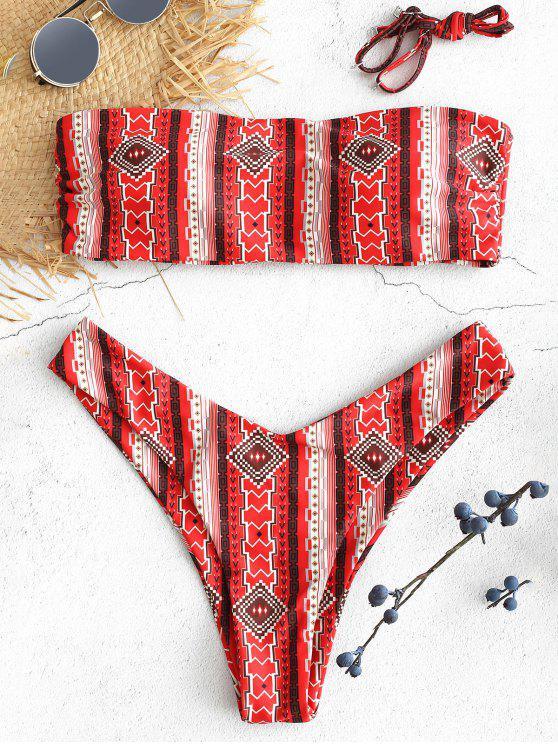 sale Bohemian Printed Bandeau Bikini Set - MULTI-A S