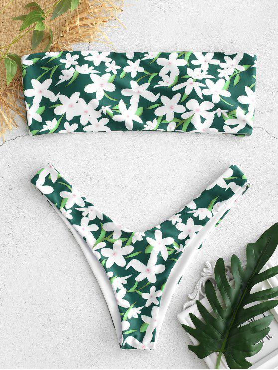 جانب قطعة العاج بيكيني مجموعة الأزهار - متوسطة غابة خضراء S