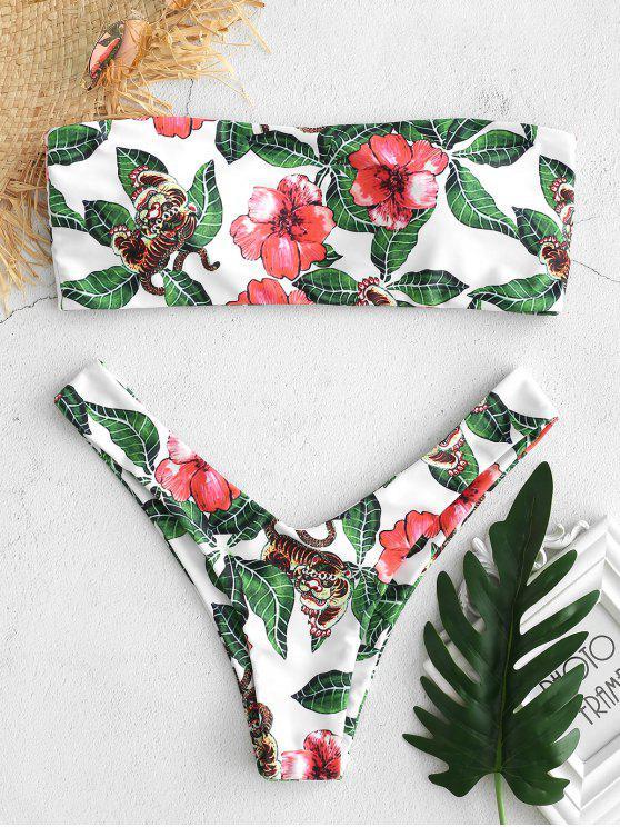 Serie de Bikini con Cinta Estampada Tigre de Hoja Floral - Blanco S