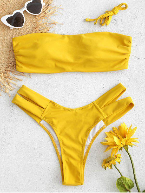 fancy Ruched Cutout Bandeau Bikini Set - SUN YELLOW S