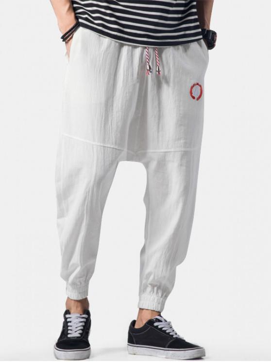 fashion Embroidery Applique Flatlock Seams Jogger Pants - WHITE M