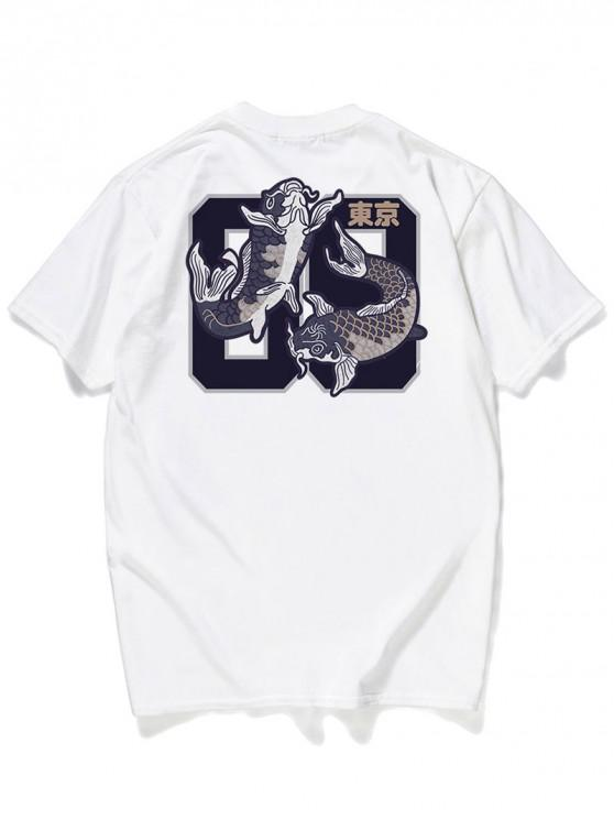 latest Letter Fishes Printed Graphic T-shirt - WHITE M