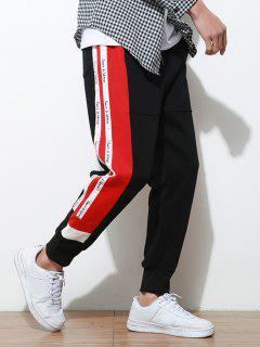 Side Letter Stripes Contrast Jogger Pants - Black Xl