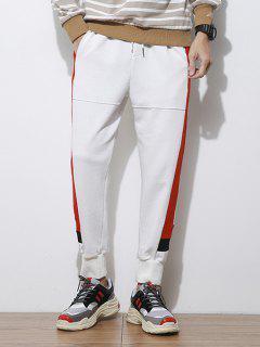 Side Letter Stripes Contrast Jogger Pants - White L