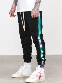 Striped Trim Sport Jogger Pants - Black Xl