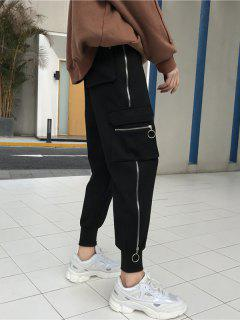 Side Pocket Zippers Jogger Pants - Black S