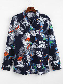 Flower Bird Printed Casual Shirt - Blue S