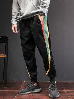 Color Block Patch Jogger Pants - Black L