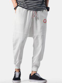 Embroidery Applique Flatlock Seams Jogger Pants - White Xl