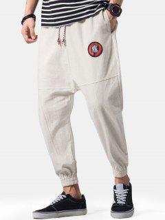 Embroidery Applique Flatlock Seams Jogger Pants - Light Khaki L