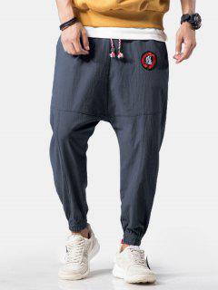Embroidery Applique Flatlock Seams Jogger Pants - Blue Gray Xl
