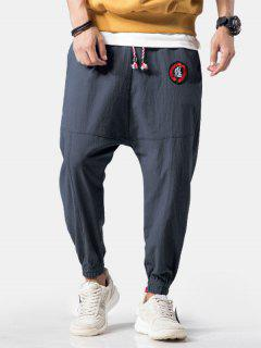 Embroidery Applique Flatlock Seams Jogger Pants - Blue Gray 2xl