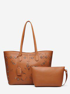 Laser Cut Grommets 2 Pieces Shoulder Bag Set - Light Brown