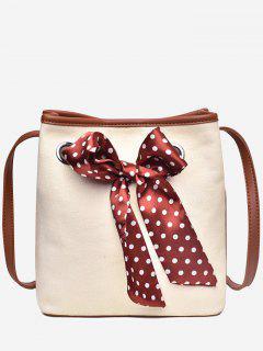 Polka Dot Bowknot Retro 2 Pieces Crossbody Bag Set - Red Wine