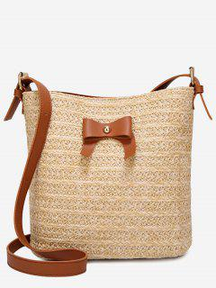 Bowknot Holiday Going Out Straw Crossbody Bag - Brown