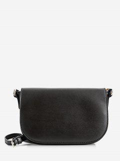 Leisure Minimalist Flapped Double Straps Sling Bag - Black