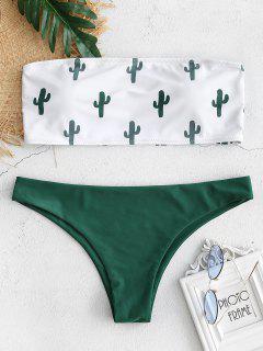 Ensemble De Bikini Bandeau Cactus De Grande Taille - Vert Foncé L