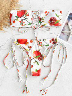 Pomegranate Print Lace-up Bandeau Bikini - White S