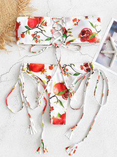 Pomegranate Print Lace-up Bandeau Bikini - White L
