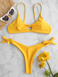 Juego De Bikini De Corte Alto Con Abertura En La Boca - Amarillo Brillante M