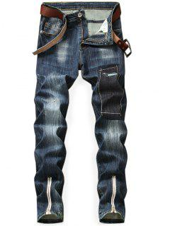 Bottom Zipper Geometric Color Block Embellished Jeans - Denim Dark Blue 34