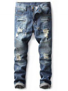 Faded Destroyed Zip Fly Biker Jeans - Denim Dark Blue 40