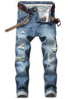 Destroyed Holes Zip Fly Jeans - Denim Dark Blue 38