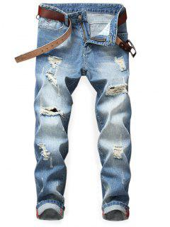 Tapered Destroyed Light Wash Jeans - Denim Dark Blue 36