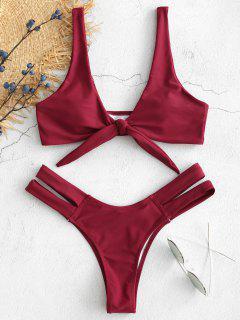 Bikini-Set Mit Cutout-Bindebändern - Samt Kastanienbraun S