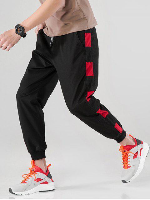 Contraste lateral Nueve minutos de pantalones harén - Negro 2XL Mobile