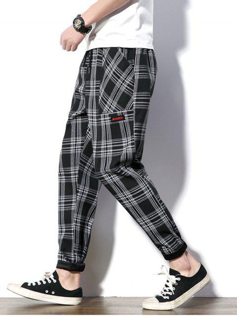 Pantalon de Neuf Minutes à Carreau avec Cordon - Noir S Mobile