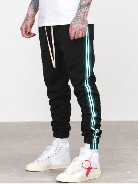 fancy Striped Trim Sport Jogger Pants - BLACK S Mobile