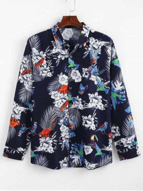 Camisa Casual Impresa Flor Ave - Azul L Mobile