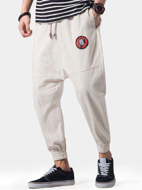 Apliques de bordado Costuras planas Jogger Pants - Caqui Claro XL Mobile