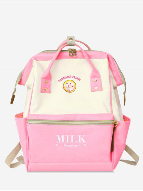 women Portable Outdoor Functional Contrasting Color School Backpack - PINK  Mobile