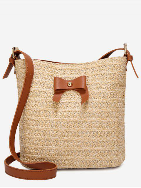 online Bowknot Holiday Going Out Straw Crossbody Bag - BROWN  Mobile