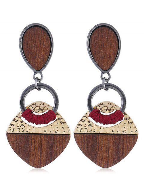fashion Teardrop Shape Geomertic Design Drop Earrings - GOLD  Mobile