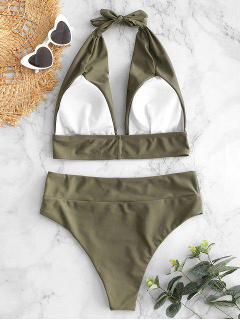 fashion Halter High Waisted Bikini Set - ARMY GREEN L Mobile