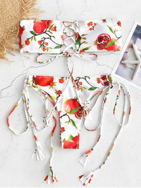 trendy Pomegranate Print Lace-up Bandeau Bikini - WHITE L Mobile