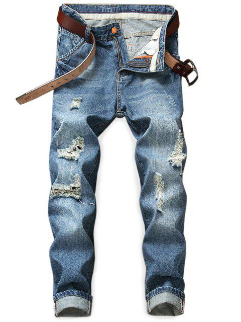 Zerstörte Löcher Zip Fly Jeans - Denim Dunkelblau 32 Mobile
