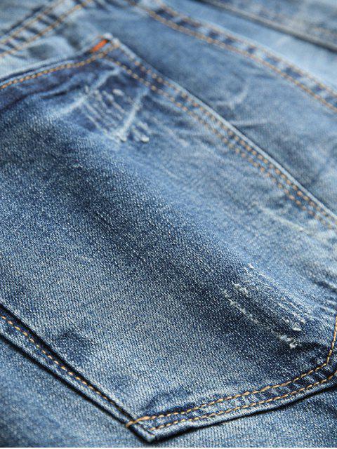 Jean Trou Déchiré à Braguette Zippée - Bleu Foncé Toile de Jean 36 Mobile