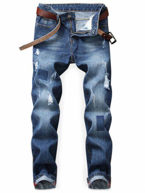 Geometric Print verblasst Zerrissene Jeans - Denim Dunkelblau 40 Mobile