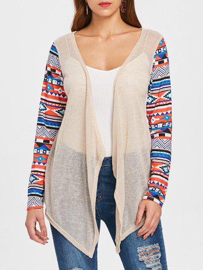Open Front Collarless Printed Asymmetric Cardigan