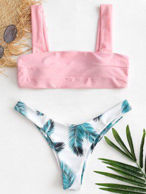 Structured Leaf Print Bikini Set - Light Pink M