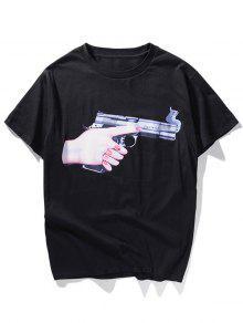 الأيدي القابضة بندقية مطبوعة تي شيرت - أسود M